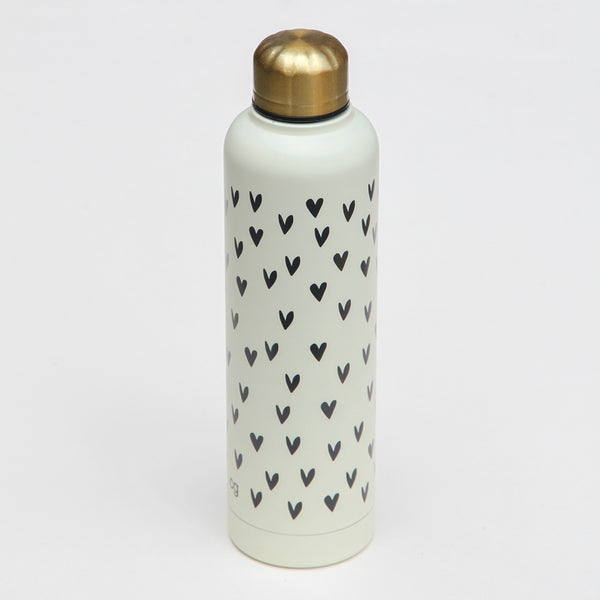 Metal Water Bottle with Hearts