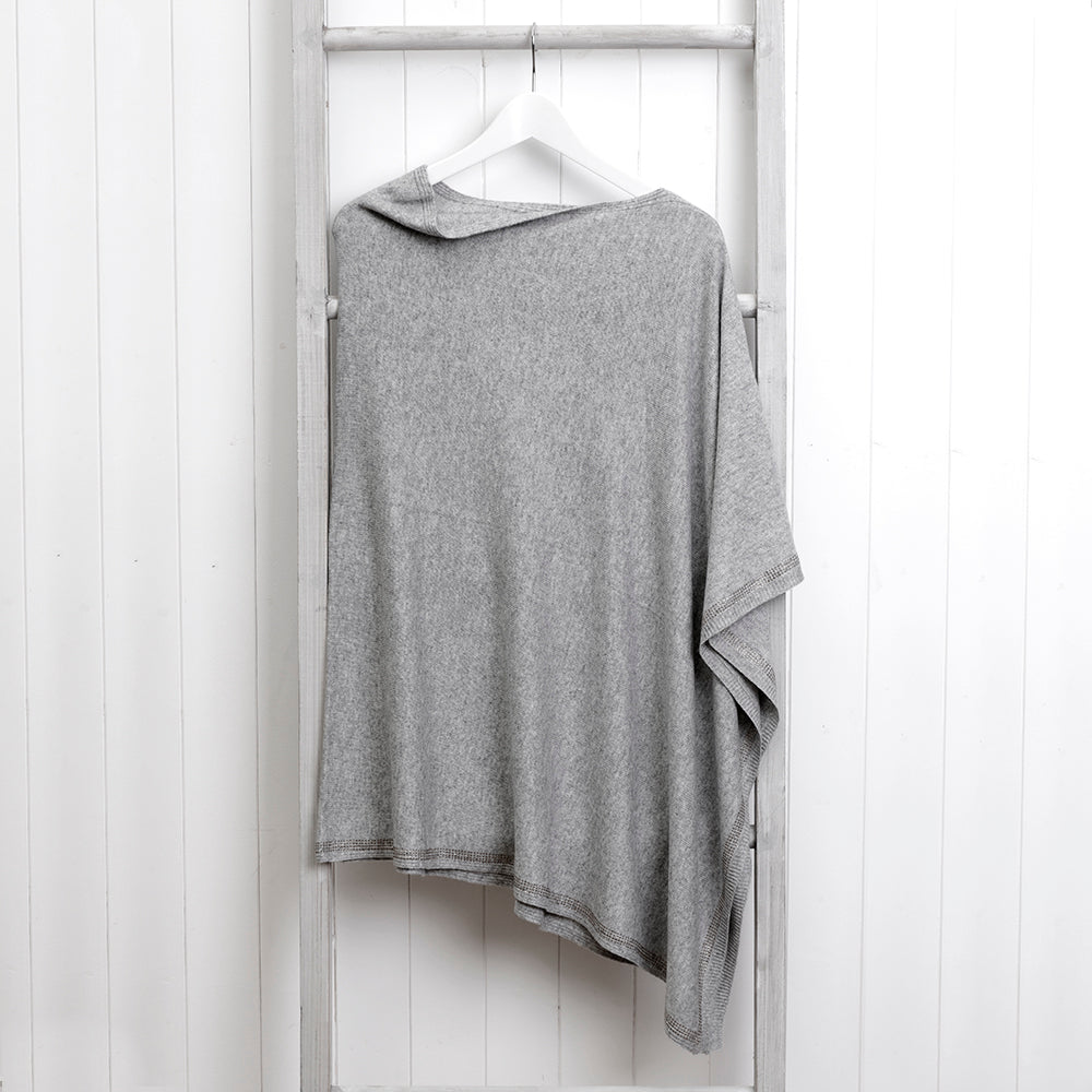 Light Grey Wool Poncho with Swarovski Trim