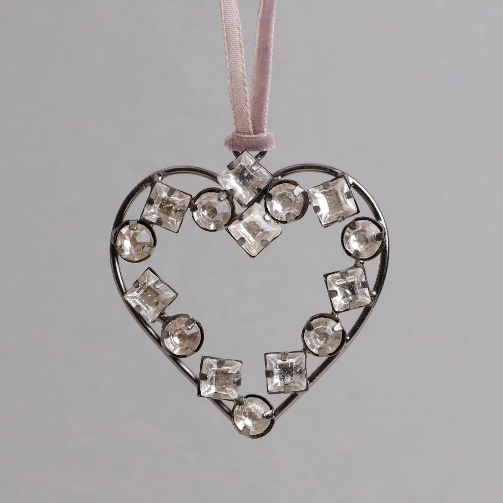 Vintage Jewelled Heart Decoration