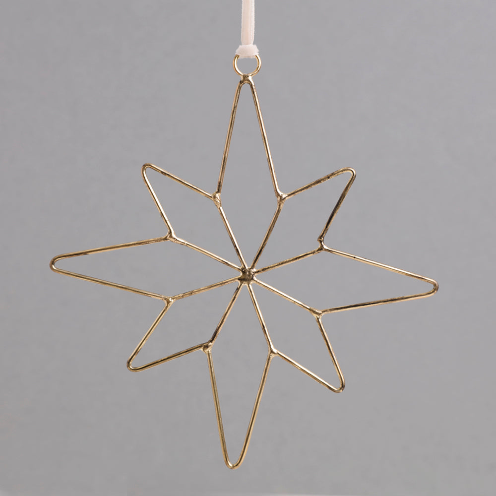 Gold Metal Wire Star Decoration