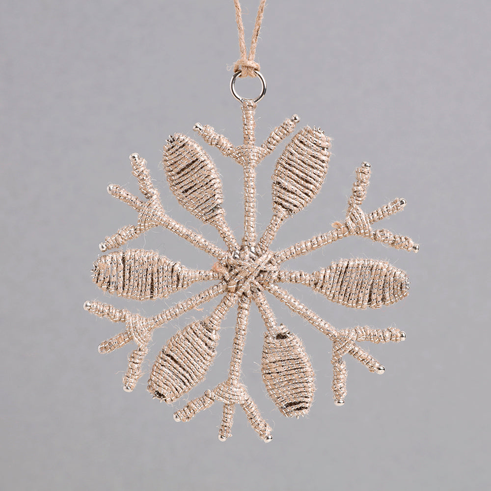Jute Wrapped Snowflake Decoration