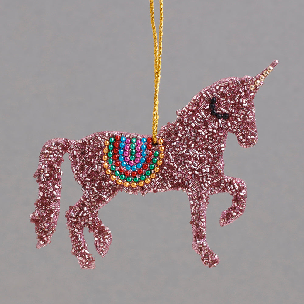 Pink Beaded Unicorn Decoration