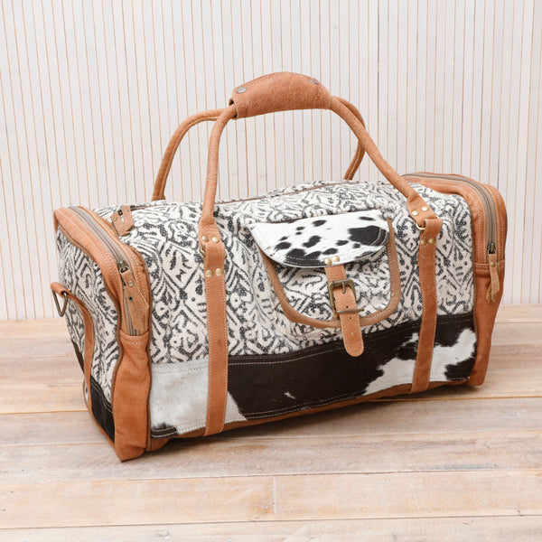 Cowhide and Leather Overnight Bag