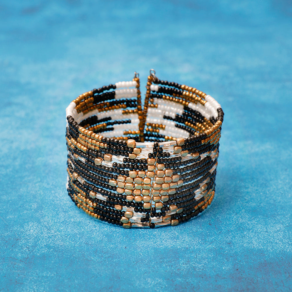 Bronze and Monochrome Beaded Cuff