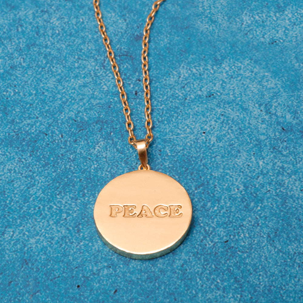 Gold Plated Peace Coin Necklace