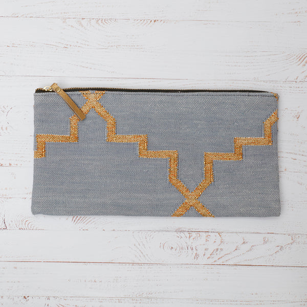 Grey and Gold Cotton Dhurrie Clutch Bag