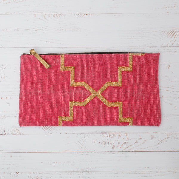 Pink and Gold Cotton Dhurrie Clutch Bag