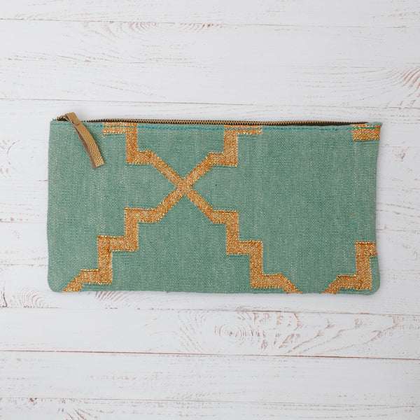 Turquoise and Gold Cotton Dhurrie Clutch Bag