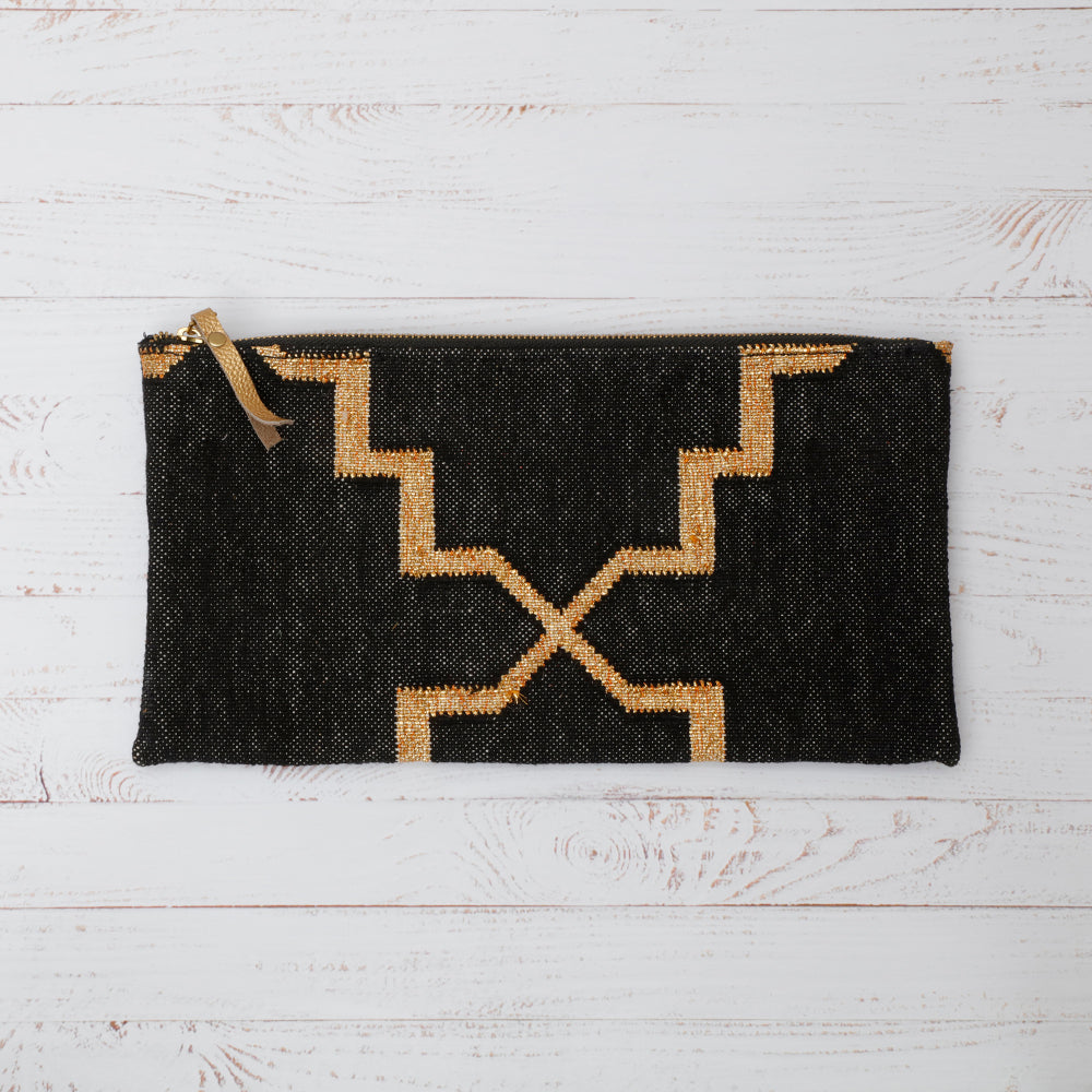 Black and Gold Cotton Dhurrie Clutch Bag