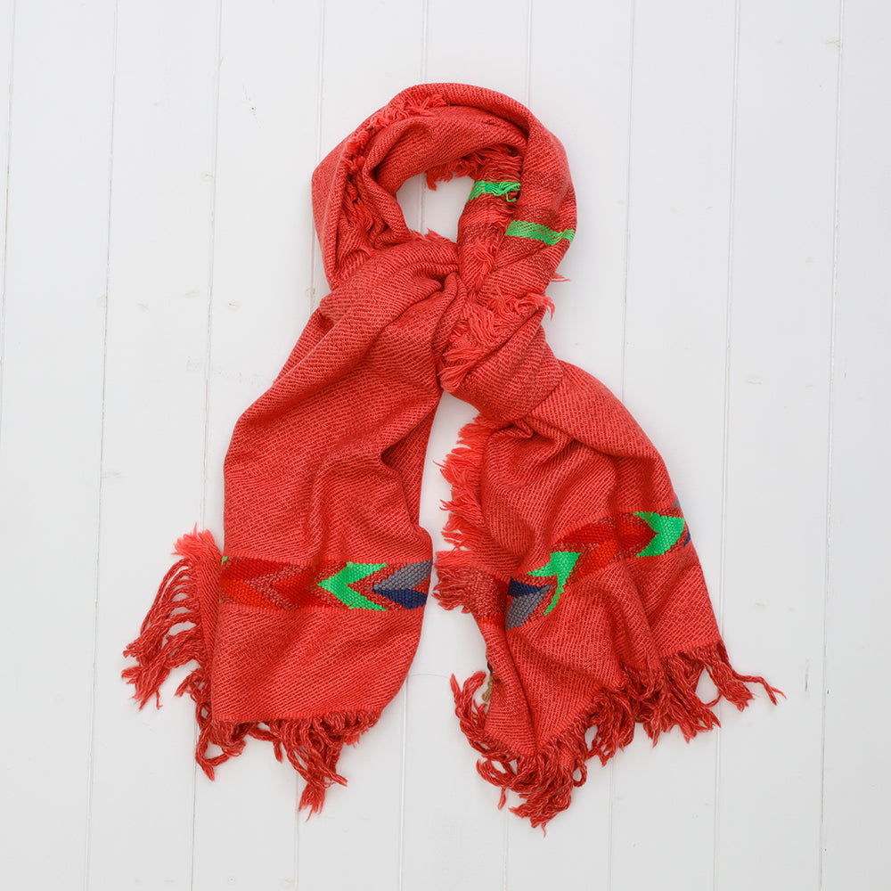 Yak Wool Handloom Scarf in Red