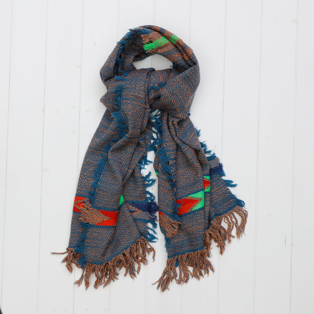Yak Wool Handloom Scarf in Denim