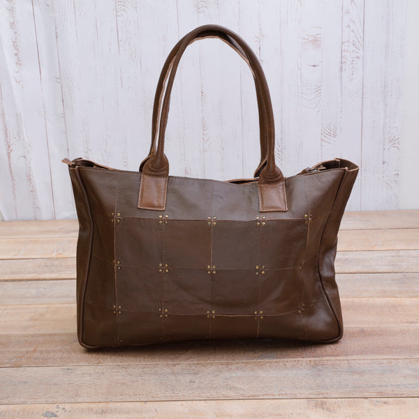 Meghan Vintage Brown Studded Bag