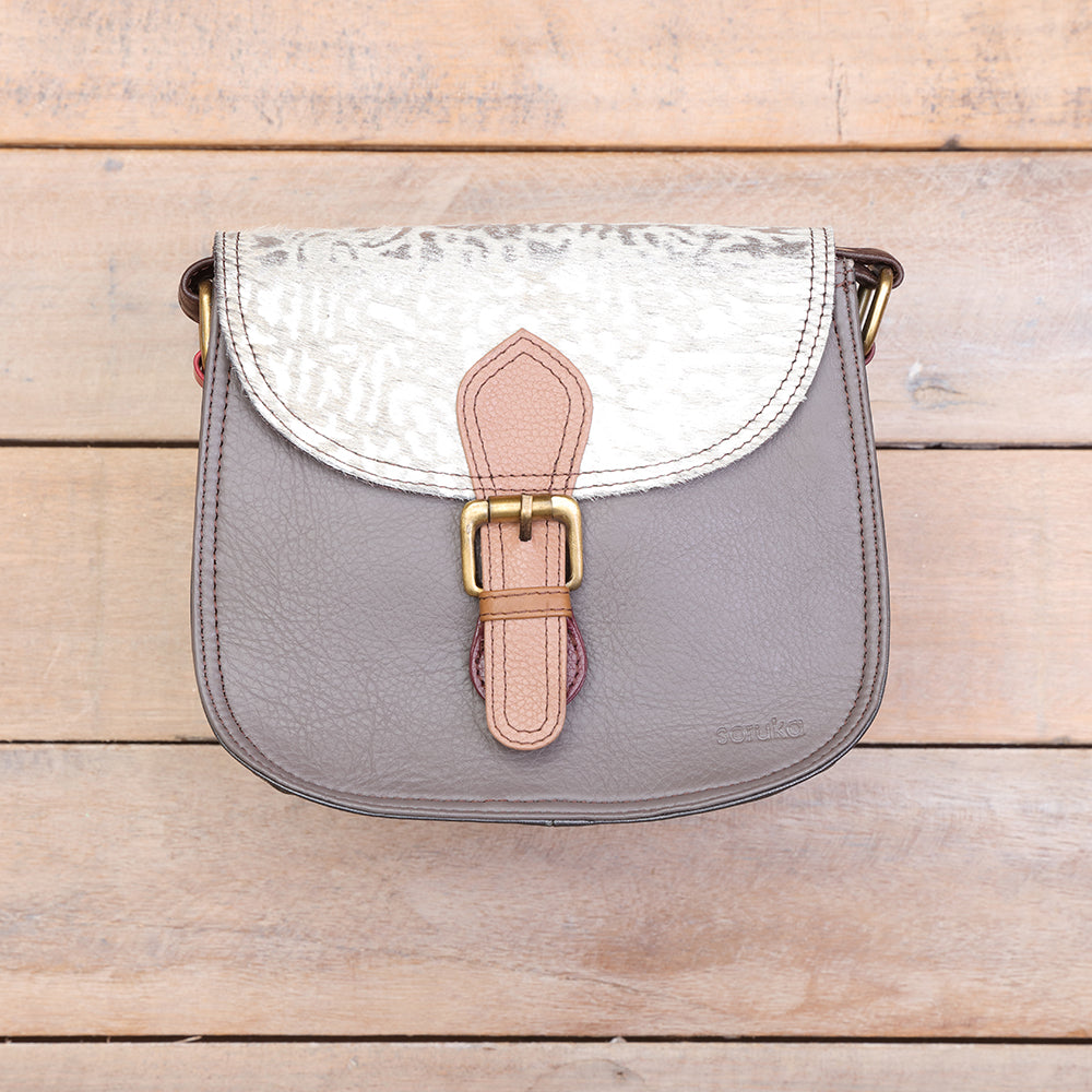 Leather Round Bag w/ Flap