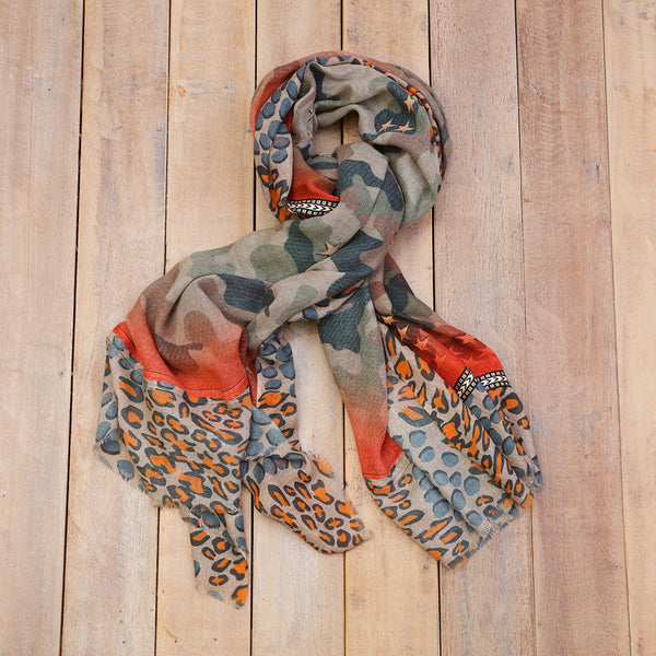 Green Camouflage and Bright Orange Neon Scarf
