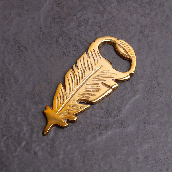 Brass Feather Bottle Opener