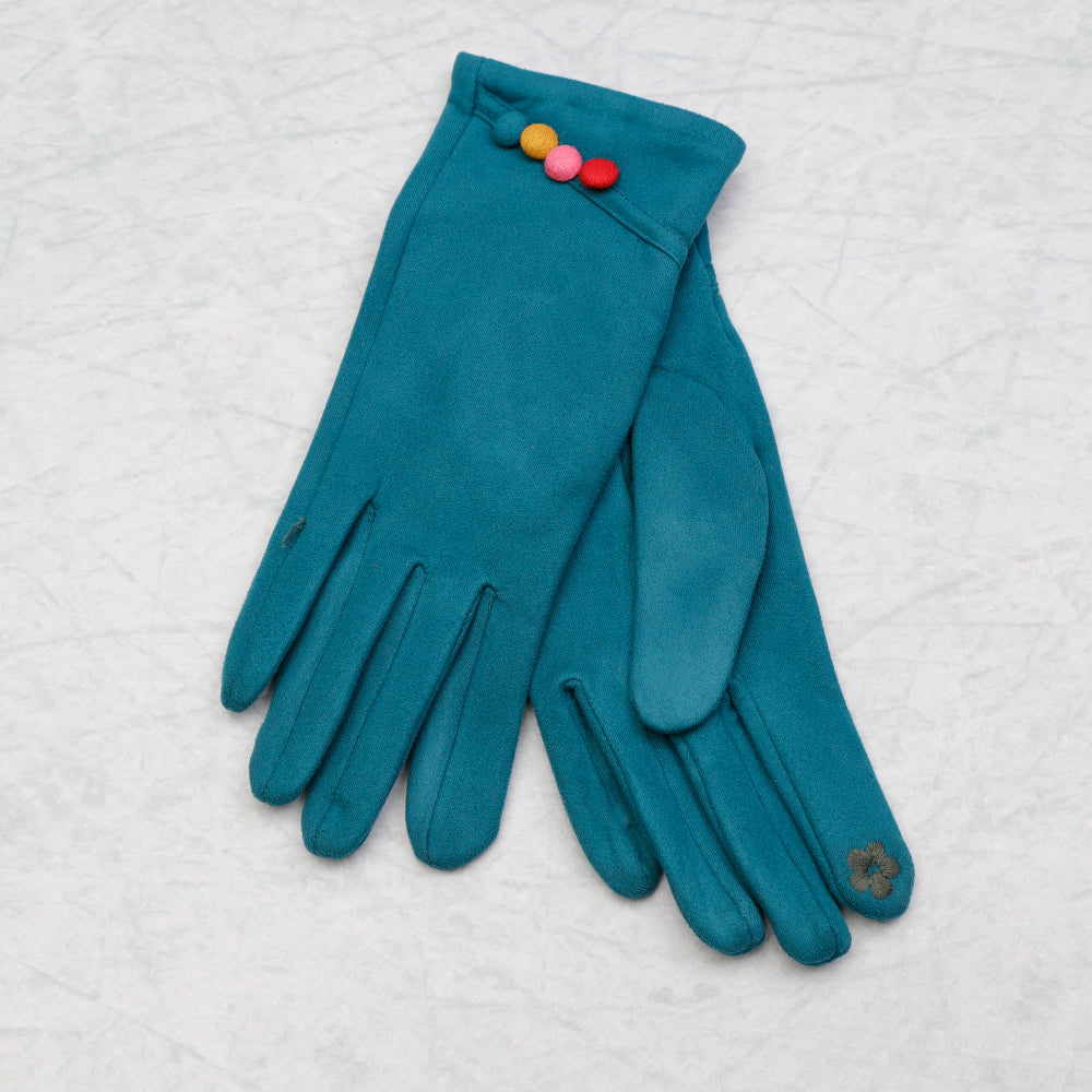 Gloves Multi Buttons Teal