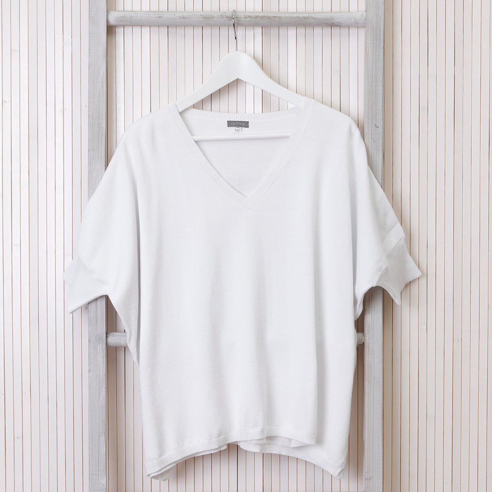 Bonnie Jumper with Rib Sleeve - White