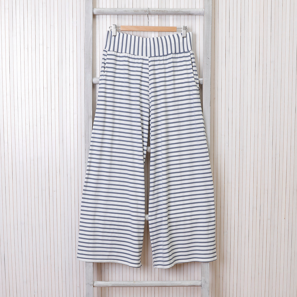 Luna Pants - Stripe White and Charcoal