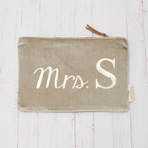 Mrs Wash Bag - Grey Velvet & Gold Foil