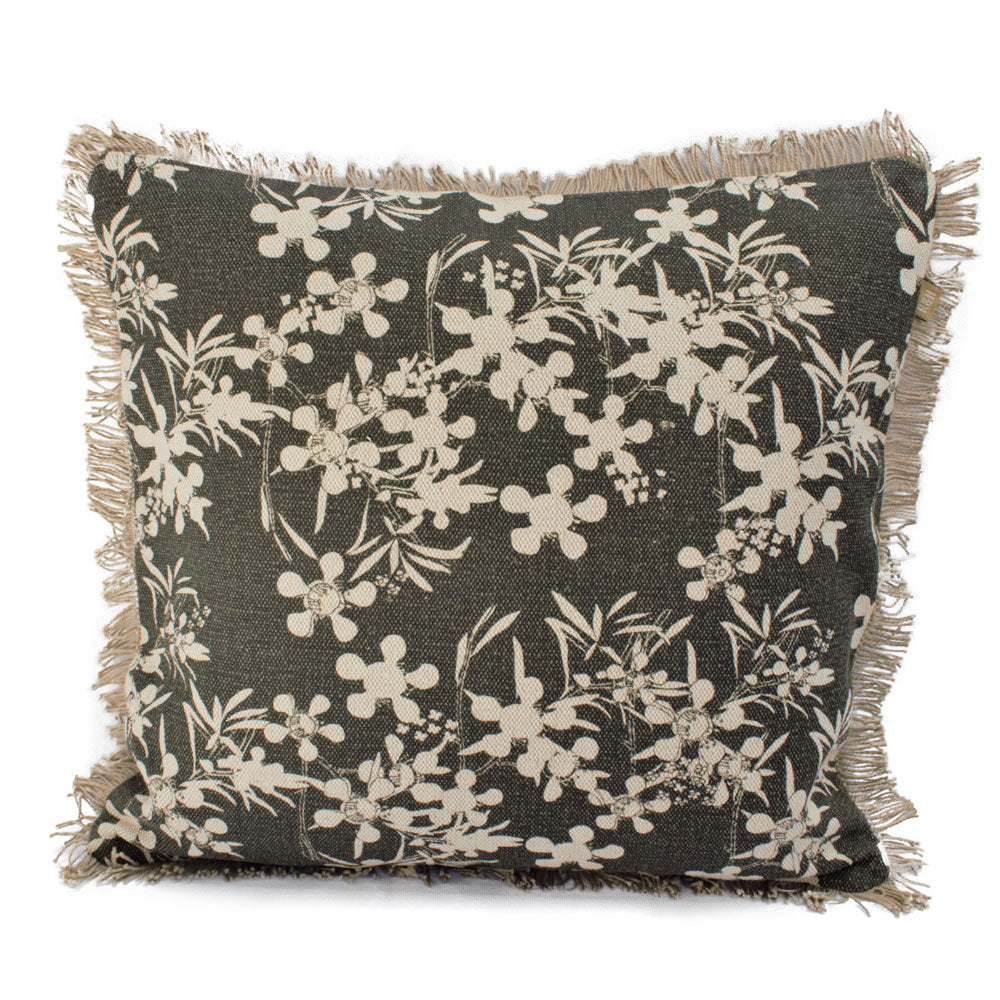 Myrtle Print Cushion - Olive Green