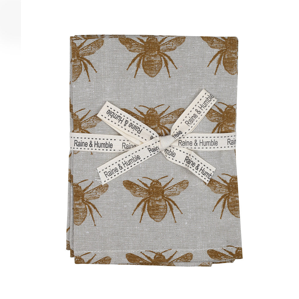 Mustard Cotton Bee Napkins Set of 4