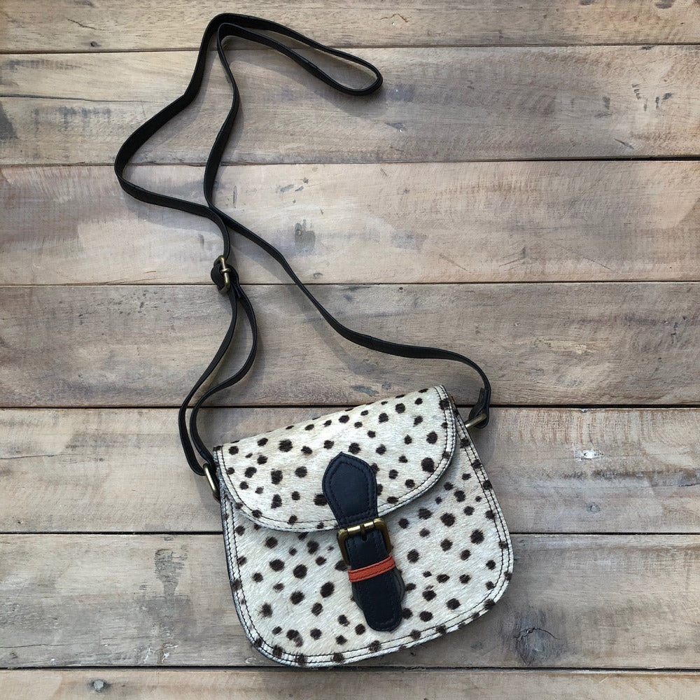 Natural Cheetah/Navy Buckle Bag
