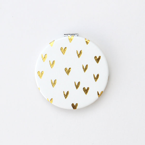 Gold Hearts Pocket Mirror