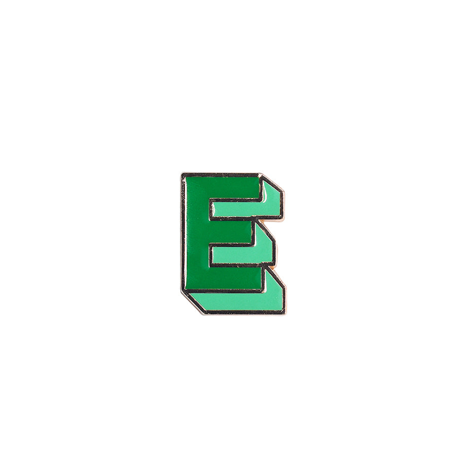 Pin Letter E Emerald Green