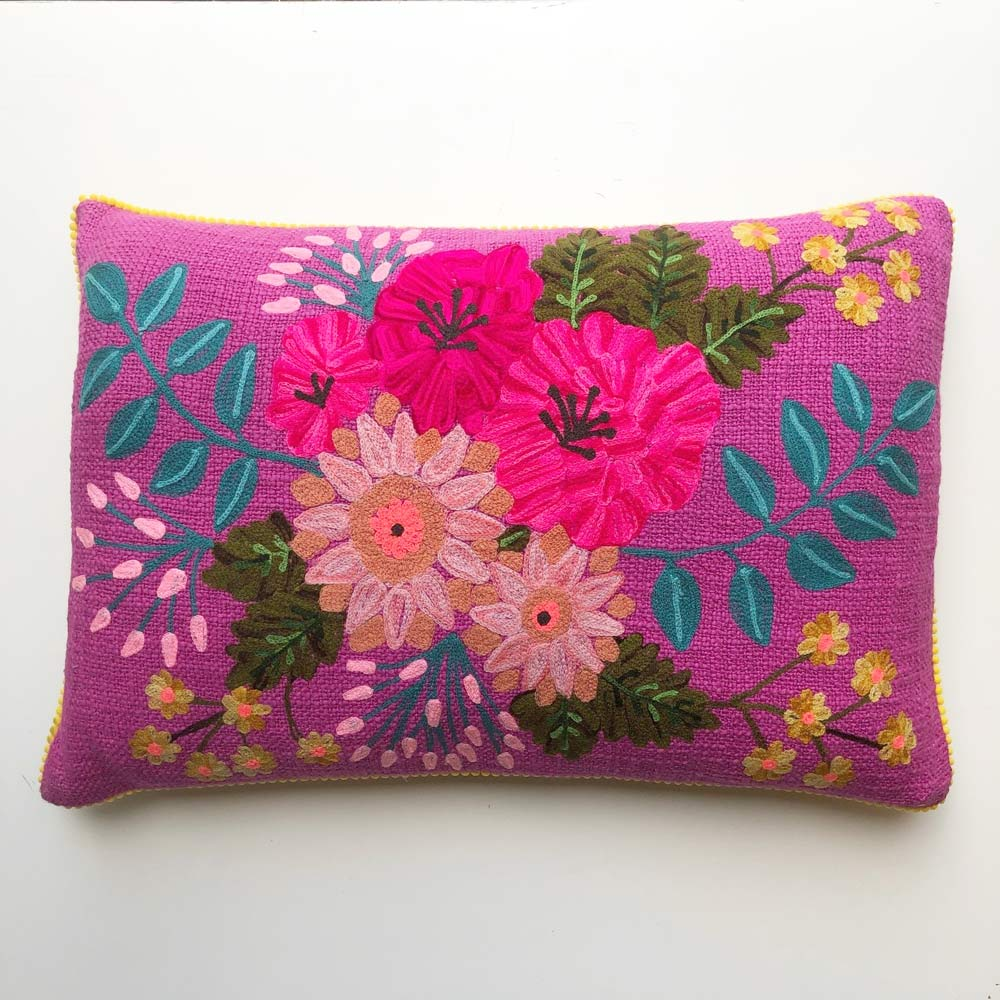 Pink Embroidered Flower Cushion