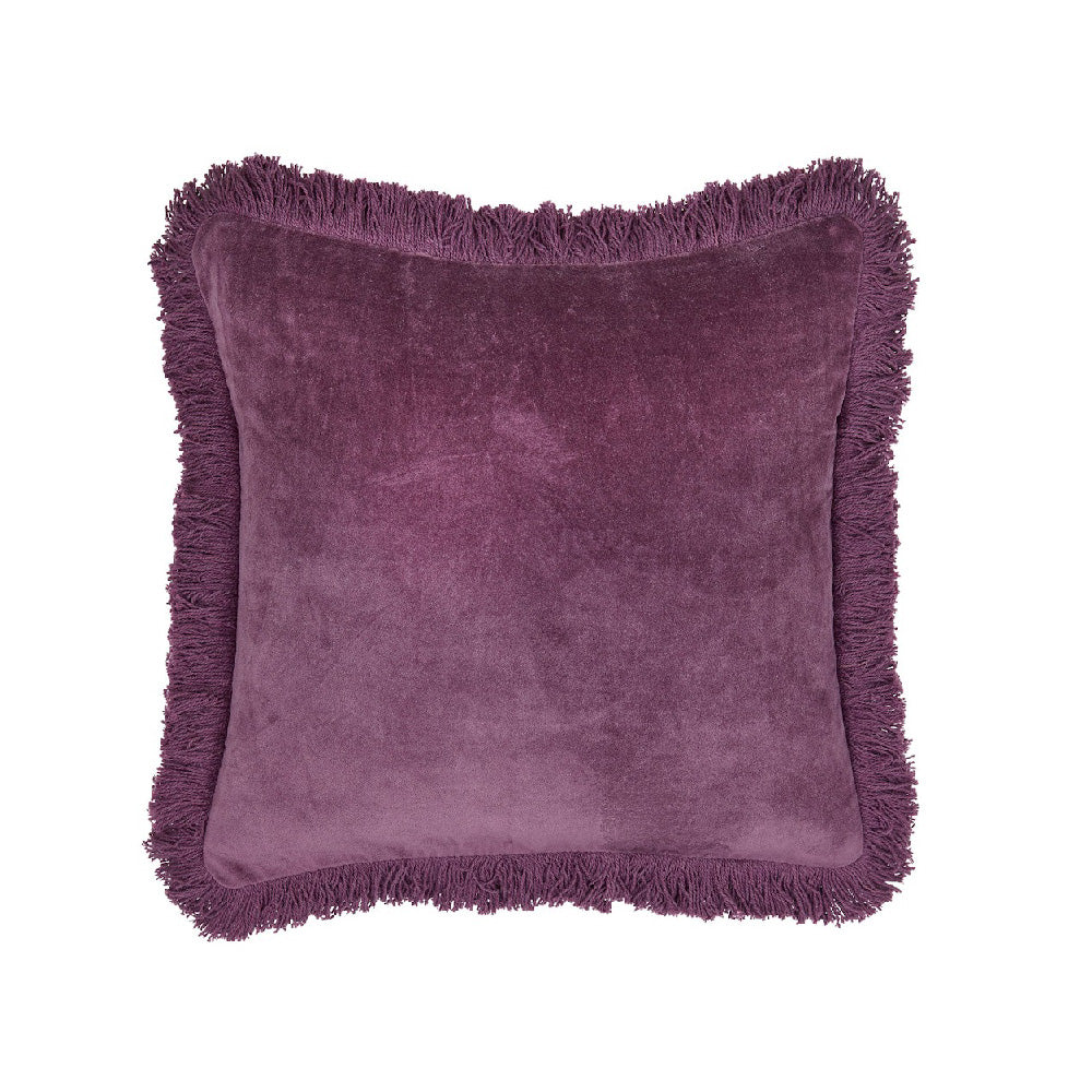 Fringed Velvet Cushion - Plum