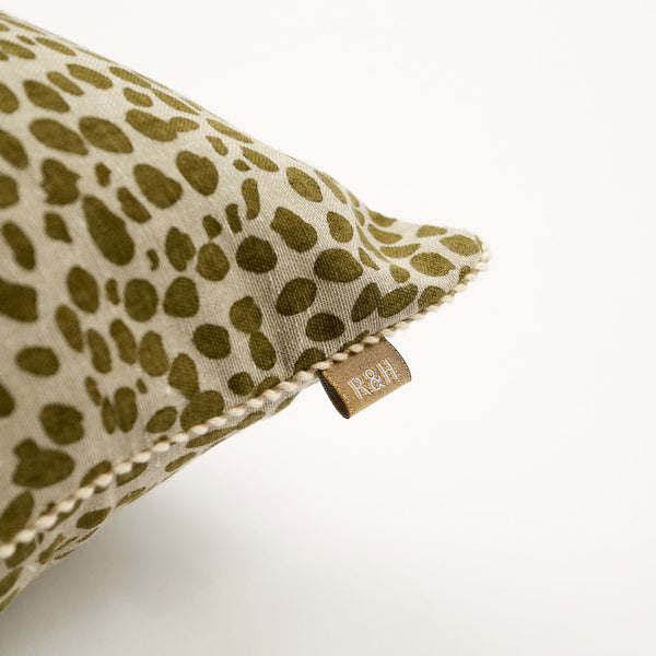 Animal Print Cushion Khaki Green
