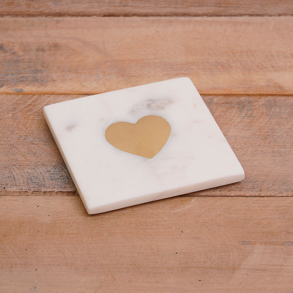 White Marble Coaster With Gold Heart