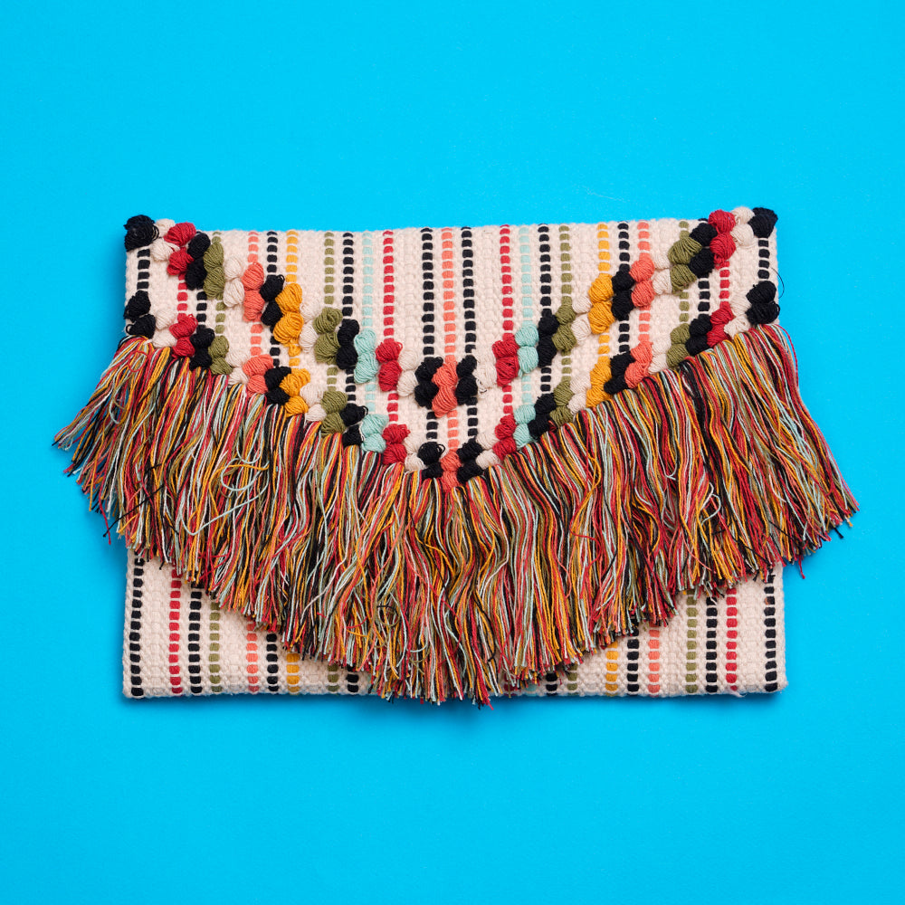 Multi Colour Stripe Clutch