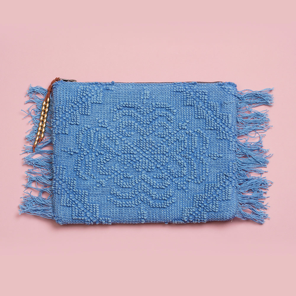 Blue Vintage Jaquard Clutch Bag