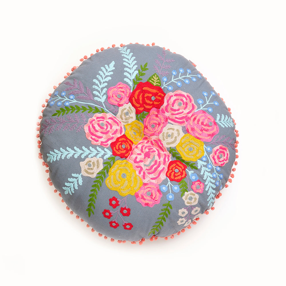 Round Floral Embroidered Floor Cushion