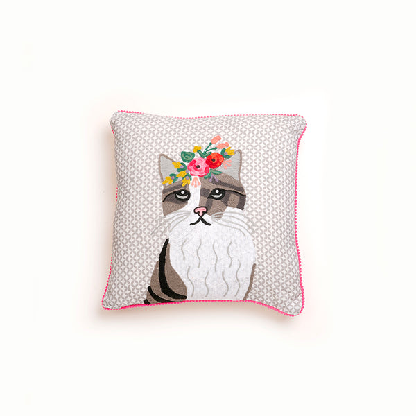 Embroidered Cat Cushion