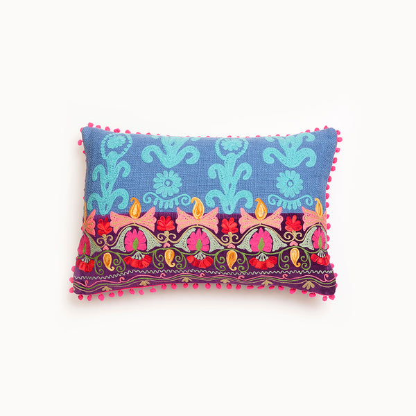 Purple Embroidered Cushion