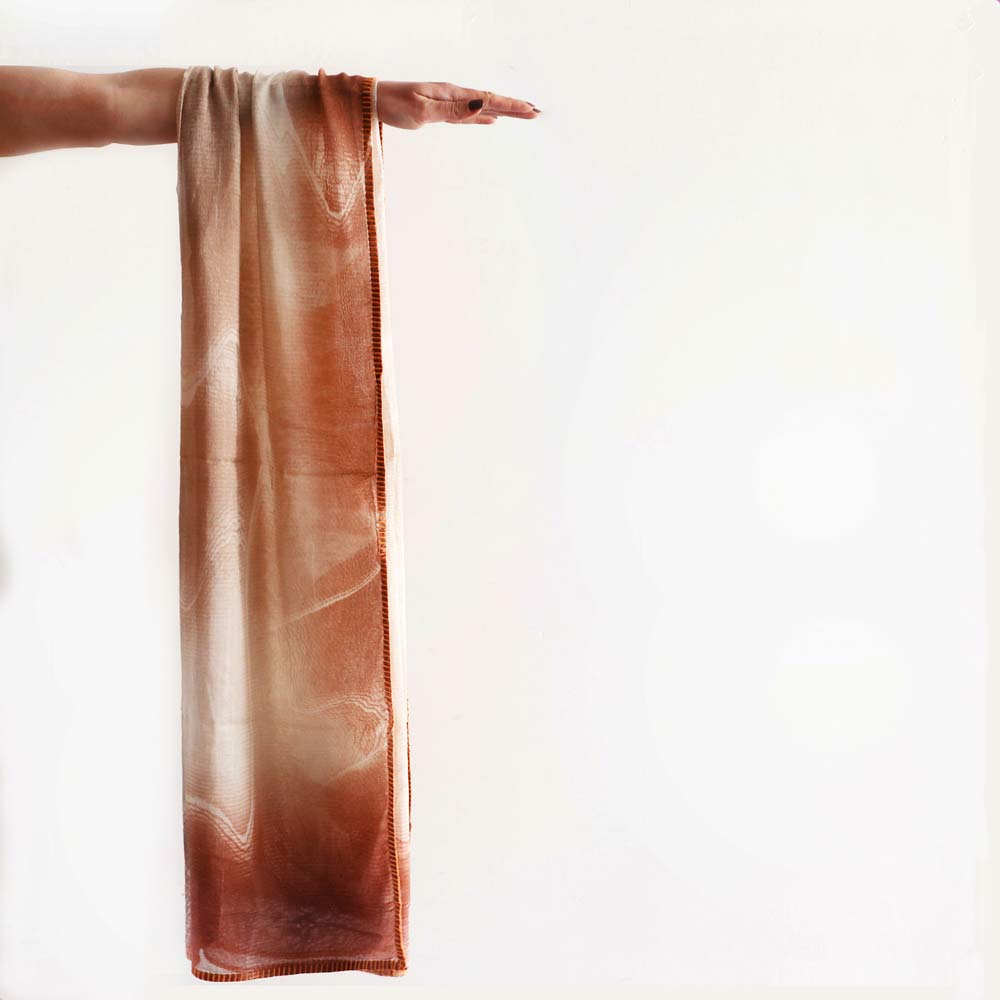Rust Watermark Scarf with Orange Edging