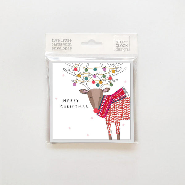Pack Of 5 Reindeer with Lights cards