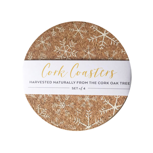 Cork Snowflakes Coaster Set of 4