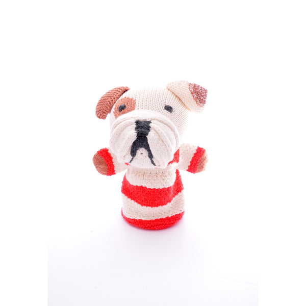 Knitted Stripy Bulldog Hand Puppet