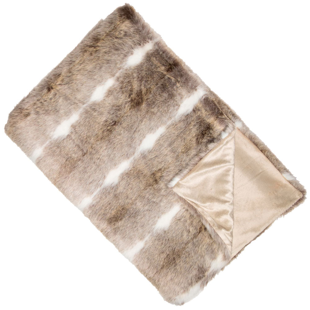 Kudo Taupe Faux Fur Throw
