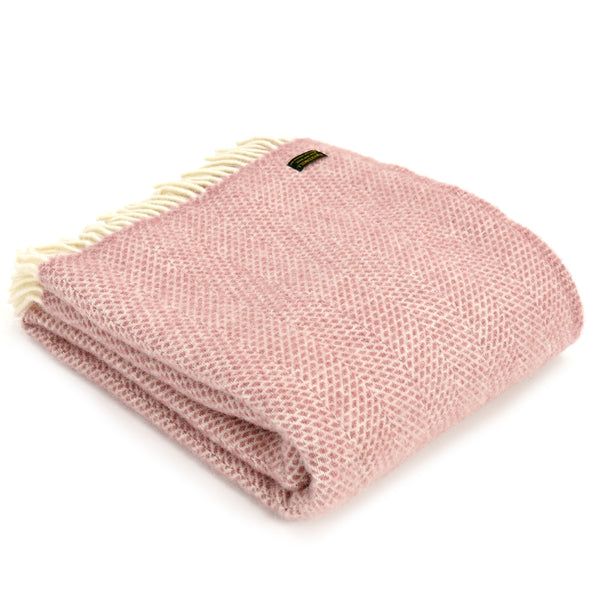Pure New Wool Beehive Throw Pink
