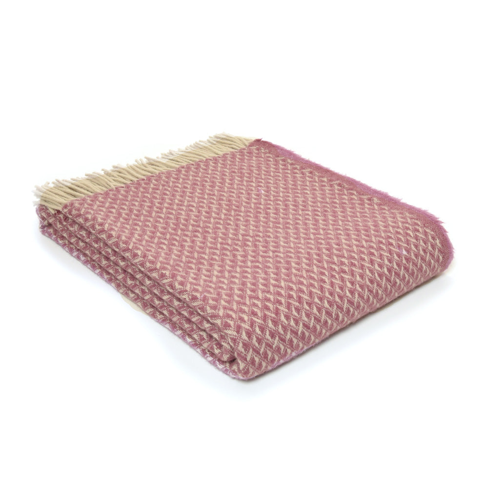 Pure Wool Diamond Throw - Mulberry