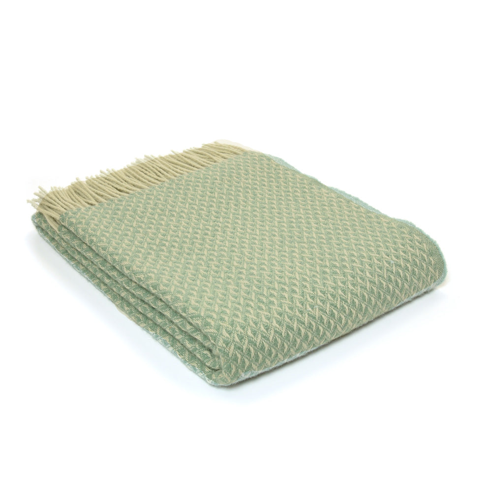 Pure New Wool Diamond Throw - Seagreen