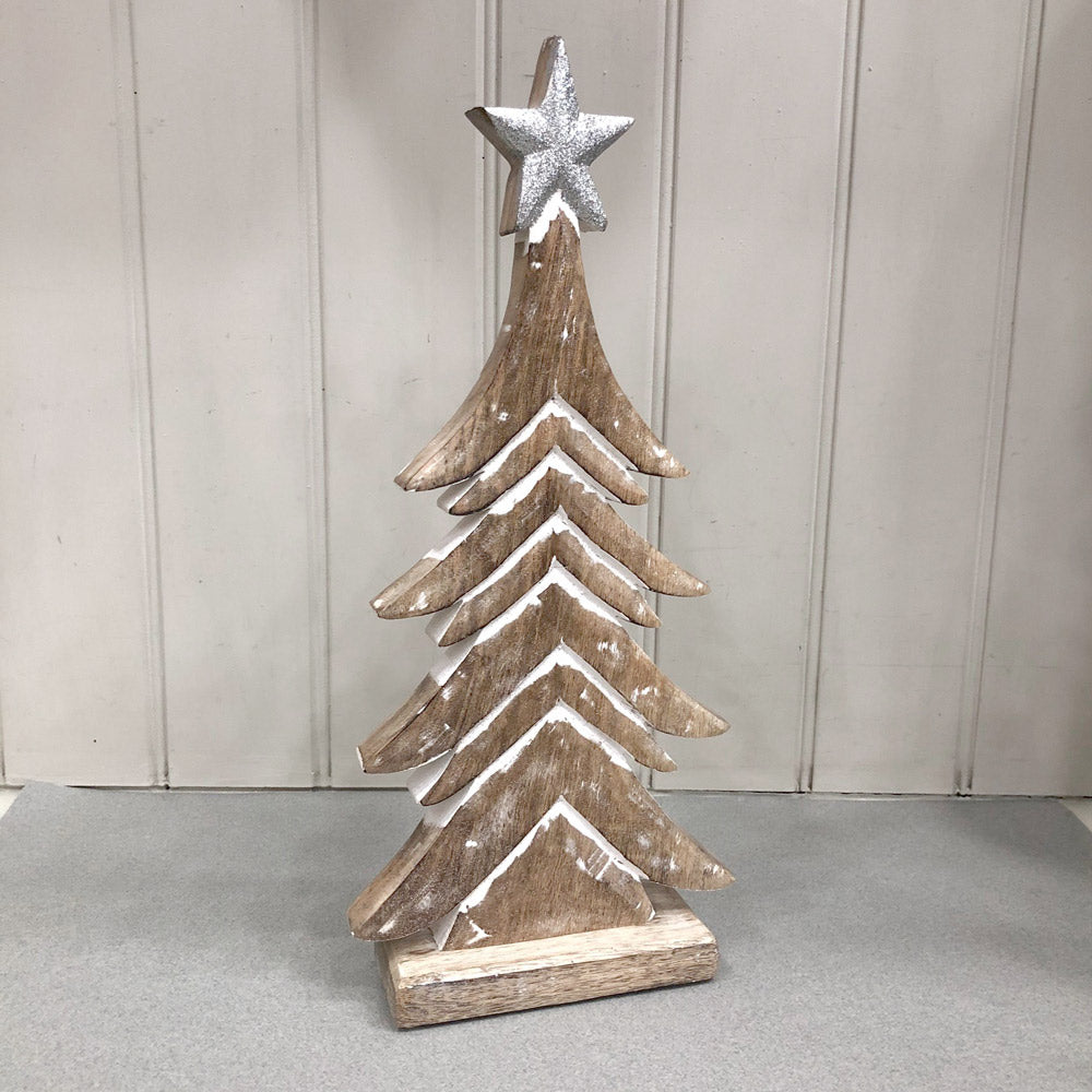 Wooden Tree with Glitter Star