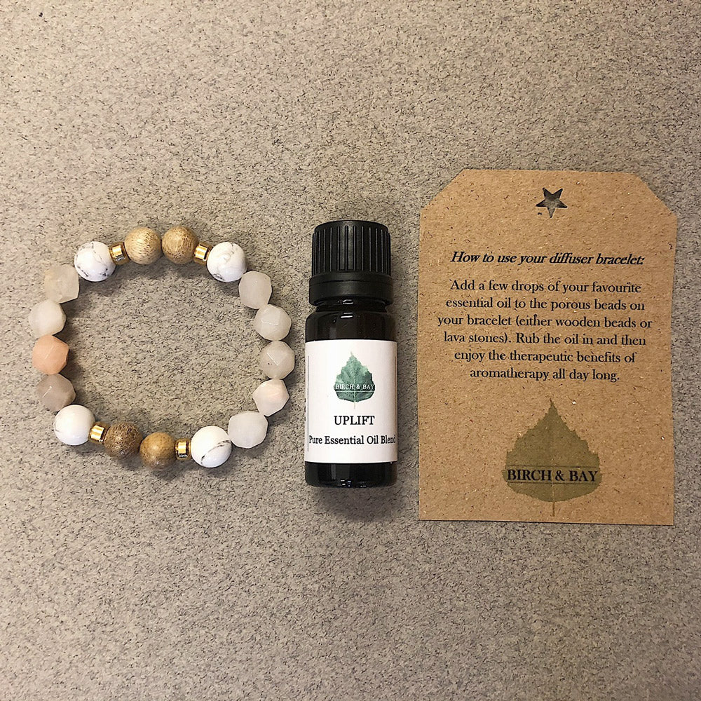 Uplift Essential Oil With Crystal & Wooden Diffuser Bracelet