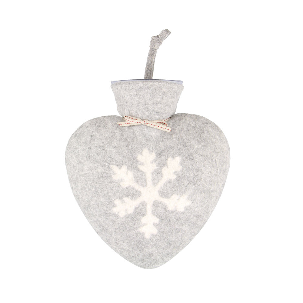 Heart-shaped Light Grey Hot Water Bottle with White Snowflake Motif