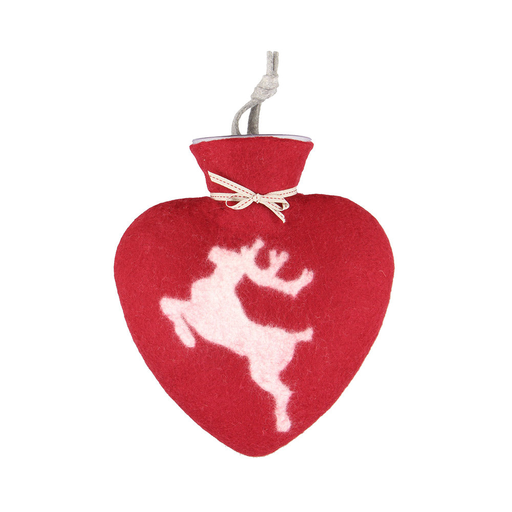 Heart-shaped Red Hot Water Bottle with White Stag Motif