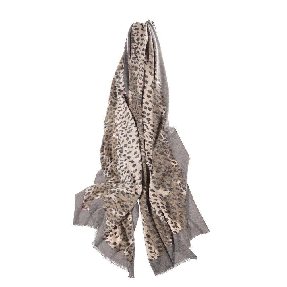 Super Soft Border Scarf - Grey